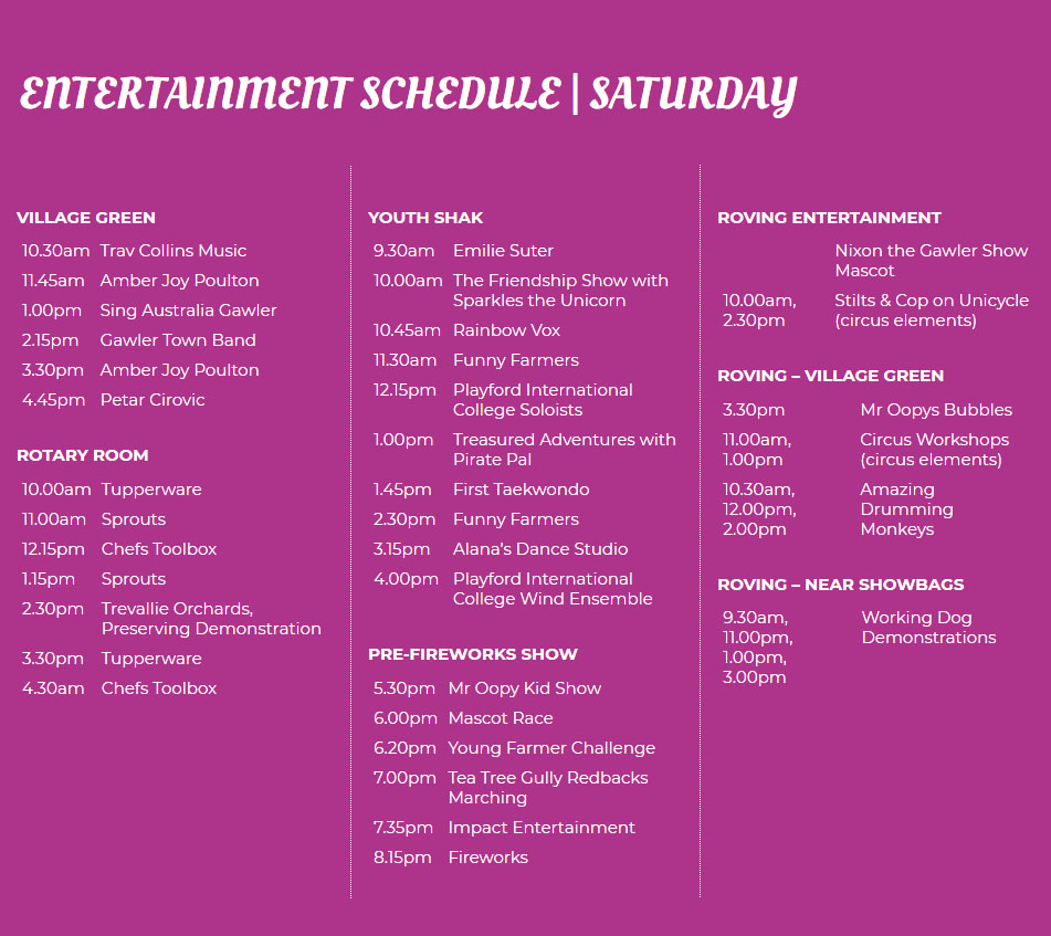Entertainment Schedule Saturday