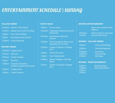 Entertainment Schedule Sunday